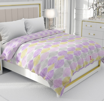 Purple Be Wangle Leaves Printed Reversible Double Bed Dohar AC Blanket