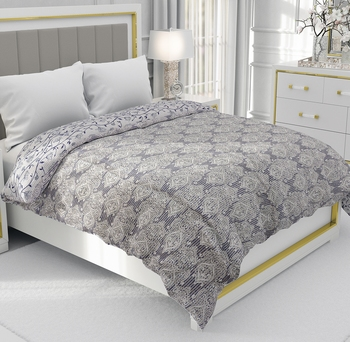 Blue Be Wangle Leaves Printed Reversible Double Bed Dohar AC Blanket