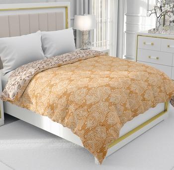 Mustard Be Wangle Leaves Printed Reversible Double Bed Dohar AC Blanket