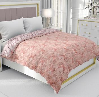 Orange Be Wangle Leaves Printed Reversible Single Bed Dohar AC Blanket