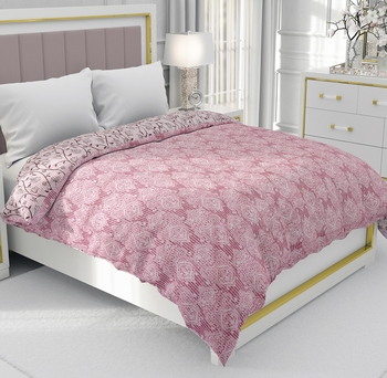 Pink Be Wangle Leaves Printed Reversible Double Bed Dohar AC Blanket