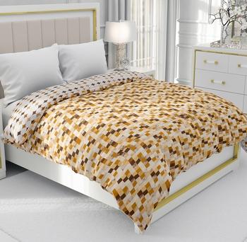 Brown Be Wangle Geometric Printed Reversible Double Bed Dohar AC Blanket