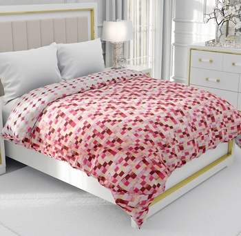 Light Red Be Wangle Geometric Printed Reversible Double Bed Dohar AC Blanket