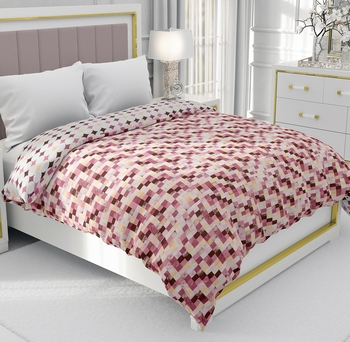 Pink Be Wangle Geometric Printed Reversible Double Bed Dohar AC Blanket