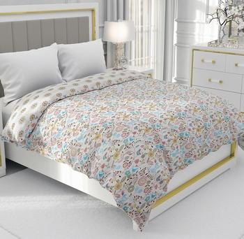 Blue Be Wangle Floral Printed Reversible Single Bed Dohar AC Blanket
