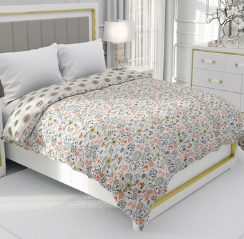 Dark Orange Be Wangle Floral Printed Reversible Double Bed Dohar AC Blanket