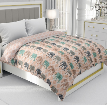 Orange Be Wangle Traditional Printed Reversible Double Bed Dohar AC Blanket