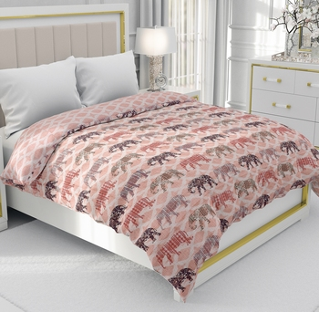 Pink Be Wangle Traditional Printed Reversible Double Bed Dohar AC Blanket