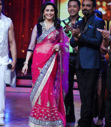 Buy Madhuri Dixit Pink and Black Heavy saree with blouse madhuri-dixit-saree online