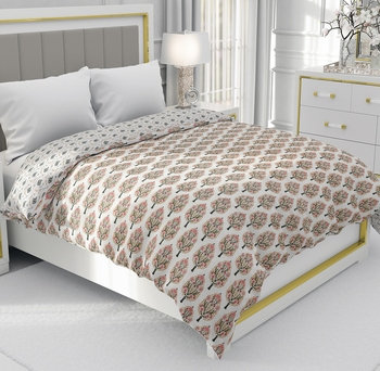White Be Wangle Floral Printed Reversible Double Bed Dohar AC Blanket