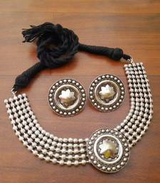 Oxidized choker necklace set