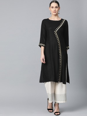 Black Colored Thread Embroidery With Rayon Fabric