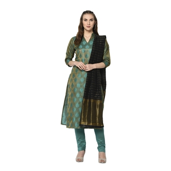 green Elora Cotton Jacquard Woven Designer Salwar Suit Unstitched Dress Material for Women
