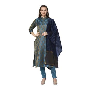 turquiose Elora Cotton Jacquard Woven Designer Salwar Suit Unstitched Dress Material for Women