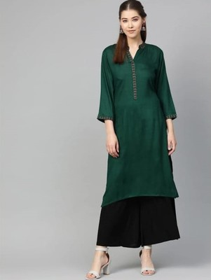 Green Colored Thread Embroidery With Rayon Fabric