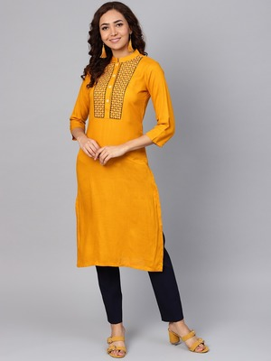 Mustard Colored Thread Embroidery With Rayon Fabric
