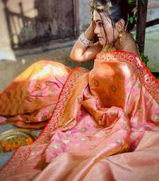 blush pink  embroidered kanchipuram silk blend saree with blouse