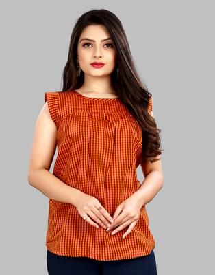 Orange plain cotton cotton-tops