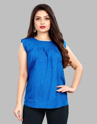 Blue plain cotton cotton-tops