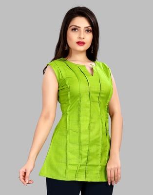 Parrot-green plain cotton cotton-tops