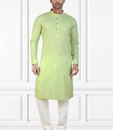 mens Green stripes printed cotton kurta-pajama