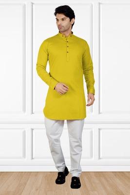 men's yellow short pathani kurta pant set