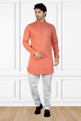 men's raspberry_pink short pathani kurta pant set