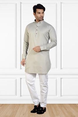 men's grey short pathani kurta pant set