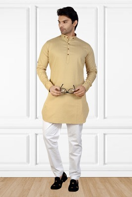 men's fawn short pathani kurta pant set