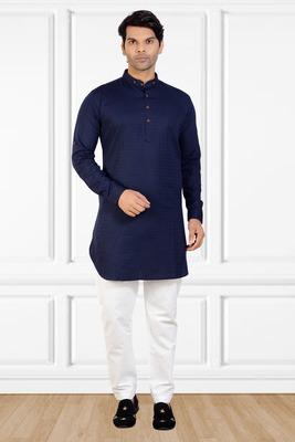 men's Blue short pathani kurta pant set