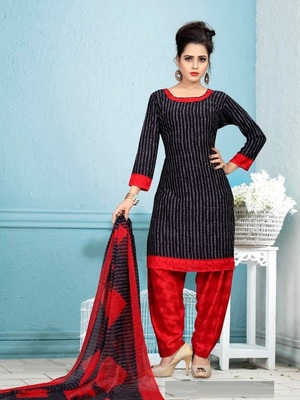 black printed crepe unstitched salwar with dupatta