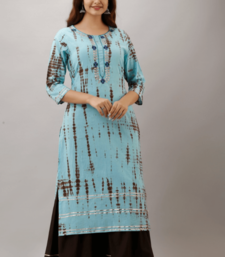 Sky Blue Colored Golden Zari Work Kurta With Black Sharara