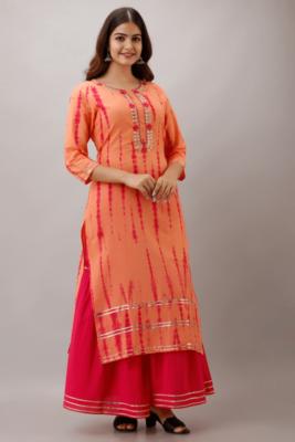 Orange Colored Golden Zari Work Kurta With Pink Sharara