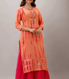 Orange Colored Golden Zari Work Kurta With Pink Sharara