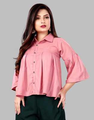 Pink plain viscose rayon tops