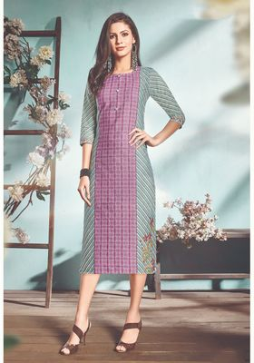 NAVRAJ FASHION Cotton Flex Purple And Blue Colored Stylish Kurti