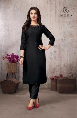 Black Festive Wear Fancy Fabric Thread Embroidered Kurti With Bottom