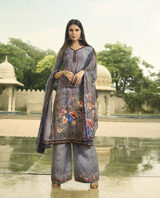 Grey digital print crepe salwar