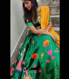 Green plain silk unstitched lehenga