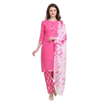 pink Elora Pure Cotton Salwar Suit Unstitched Dress Material for Women