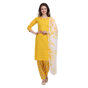 yellow Elora Pure Cotton Salwar Suit Unstitched Dress Material for Women