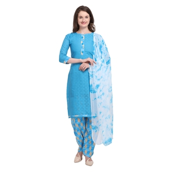 blue Elora Pure Cotton Salwar Suit Unstitched Dress Material for Women