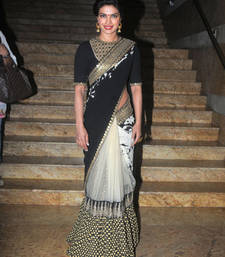 Buy Priyanka Chopra Black Fancy Designer saree with blouse priyanka-chopra-saree online