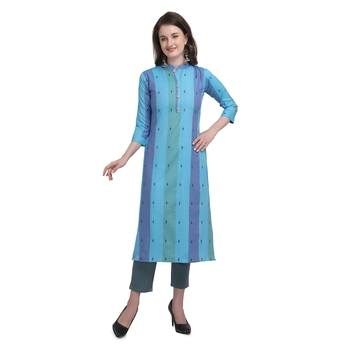 Blue embroidered cotton cotton-kurtis
