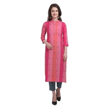 Red embroidered cotton cotton-kurtis
