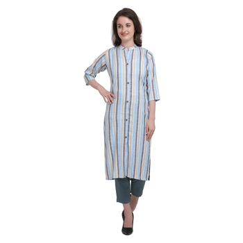 Blue printed cotton cotton-kurtis