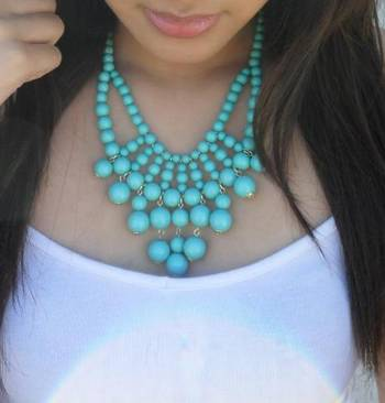 Turquoise blue beaded necklace
