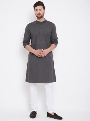 Grey plain pure cotton men-kurtas