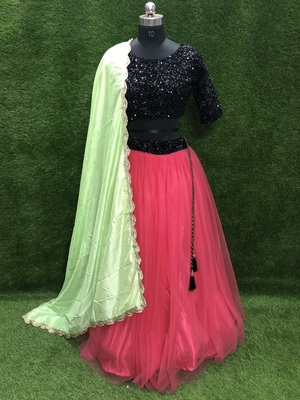 Rani-pink plain net semi stitched lehenga