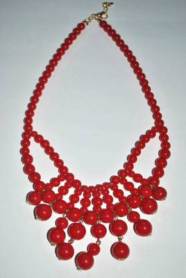Red acrylic beads bubble statement necklace